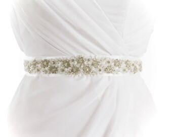 STELLA - Rhinestone Beaded Wedding Sash, Bridal Belt
