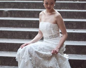 MAE - Champagne Colored Beaded Rhinestone Bridal Wedding Sash with Pearl Accents