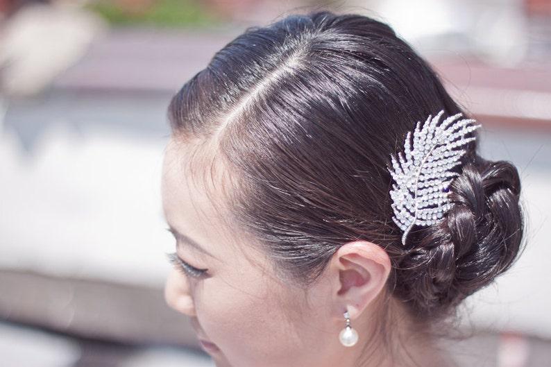 Bridal Hair Accessories Bridal Hair Comb Leaf Hair Accessory Bridal Hair Clip SKYLER Rhinestone Hair Clip Wedding Hair Accessory