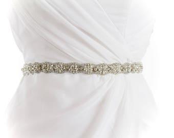 AUDREY - Rhinestone and Pearl Beaded Bridal Sash, Wedding Belt