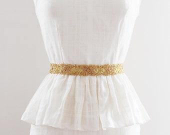 Gold Bridal Sash, Wedding Belt, Beaded Bridal Belt, Bridal Belts and Sashes, Gold Wedding Belt, Gold - ALICE GOLD