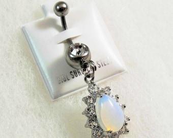 Belly Ring Opal Teardrop With Rhinestones Womens Gift Handmade
