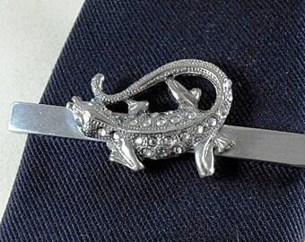 Tie Clip Tie Bar  Gecko Lizard Silver With Clear Rhinestones  Blue Eyes Mens Accessories Handmaded