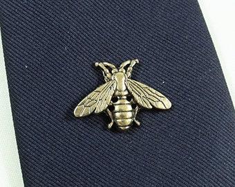 Tie Tack Pin, Bee Antique Gold Plated,  Men's Women's Gift Handmade