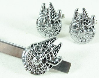 Star Wars Millennium Falcon Silver Tie Clip and Cufflink Set, Gift Box Mens Accessories Handmade