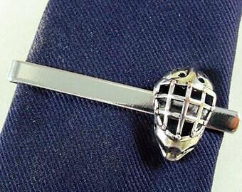 Tie Bar Tie Clip,  Mens Silver Ice Hockey Goalie Mask  Mens Accessories Handmade