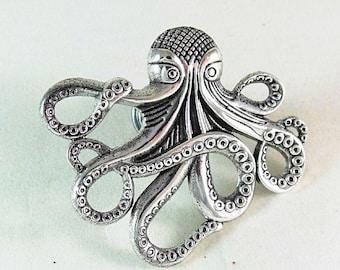 SET OF 2 Steampunk Nautical Vintage Gold Kraken Octopus GLASS Cabinet Drawer bifold Bi Fold Closet Door Knob Squid Pull Handle Wow