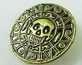 Gold Brooch Pin, Pirate Brooch Pin, Pirates of the Caribbean Brooch Mens Womes Gift Handmade