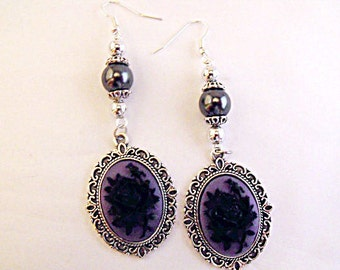 Silver Dangle Earrings,  Gothic Victorian Black Rose Cameo  With Black Pearls  Womens Gift  Handmade