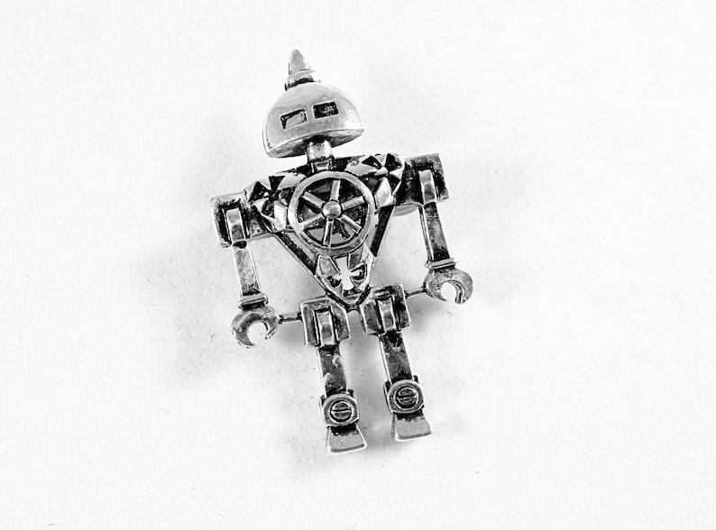 Steampunk Robot Brooch Silver Mens Womens Gift Handmade