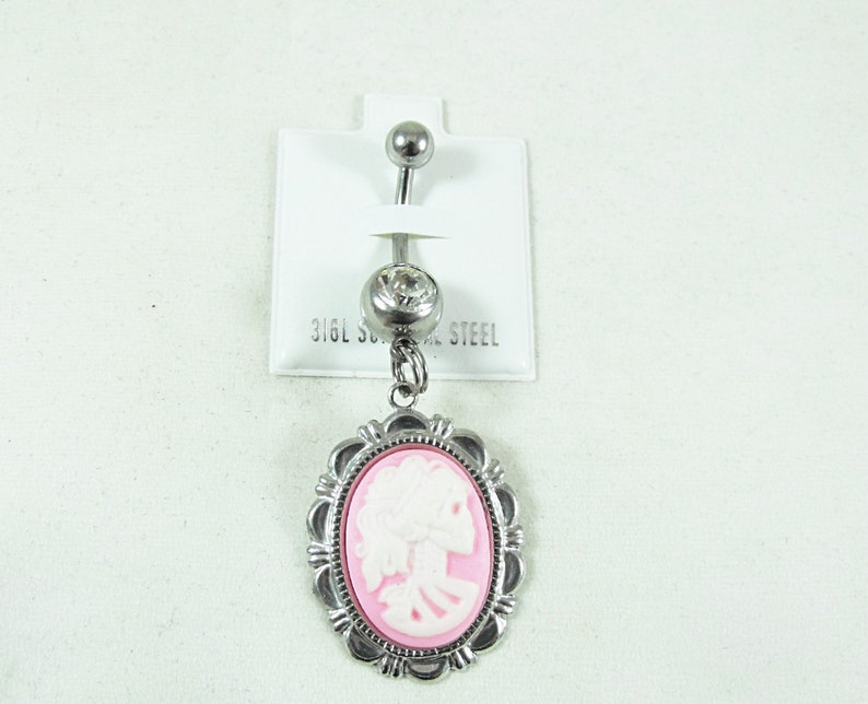 Lolita Day of the Dead Cameo Choice of Colors Womens Gift Handmade Belly Ring