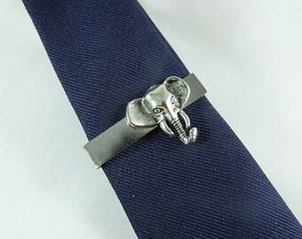 Tie Bar Tie Clip, Silver Elephant  Mens Accessories  Handmade