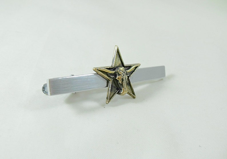 Tie Bar Tie Clip Texas Bronze Star and Steer  Mens Accessories  Handmade