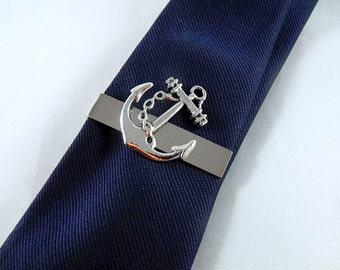 Tie Bar Tie Clip,  Silver Nautical Anchor Mens Accessories Handmade