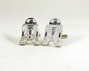 Mens Silver Cufflinks,  Star Wars R2D2, Enameled  Mens Accessories