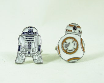 Men's Silver Cuff Links, Star Wars Droids, R2d2 and BB8  Mens Accessories Handmade
