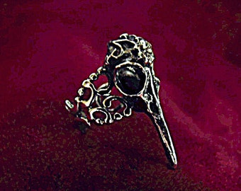 Silver Ring,  Gothic Raven Skull Ring Adjustable, Mens Womens Gift  Handmade