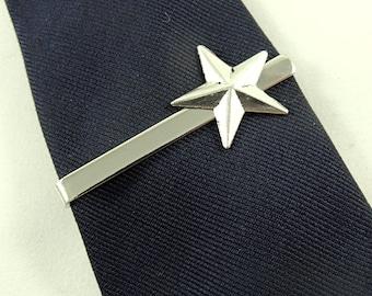 Tie Bar Tie Clip,  Mens Silver Star,  Mens Accessories  Handmade