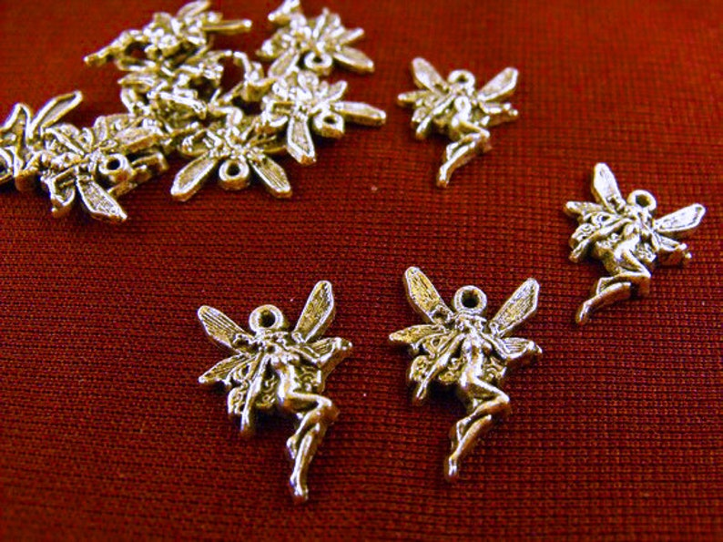 Silver Fairy Charms Lot of 20 Jewelry Making Supplies image 0