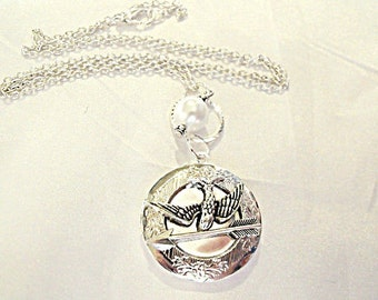 Silver Locket Necklace,  Hunger Games Inspired Peeta's Locket with Pearl  Womens Gift  Handmade