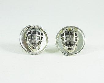 Mens Silver Cufflinks,  Hockey Goalie Mask Mens Accessories  Handmade (Silver Framed)
