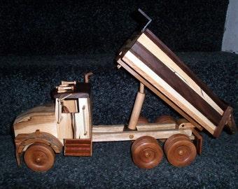 Dual Axle Dump Truck Wooden Handcrafted