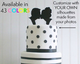 Put YOUR OWN Silhouettes on a Custom Silhouette Wedding Cake Topper - Personalized Cake Topper with your own Silhouettes