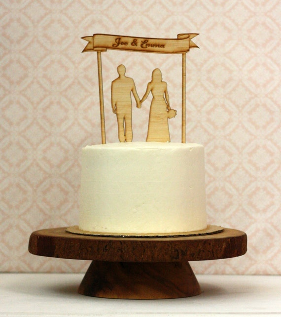 Custom Wood Silhouette Wedding Cake Topper with your | Etsy