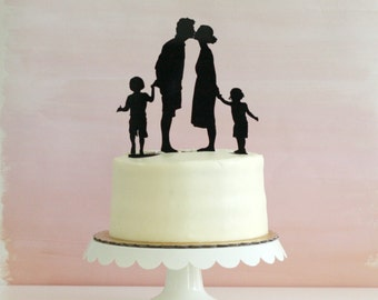 Custom Family Silhouette Wedding Cake Topper - Personalized with YOUR OWN Silhouettes