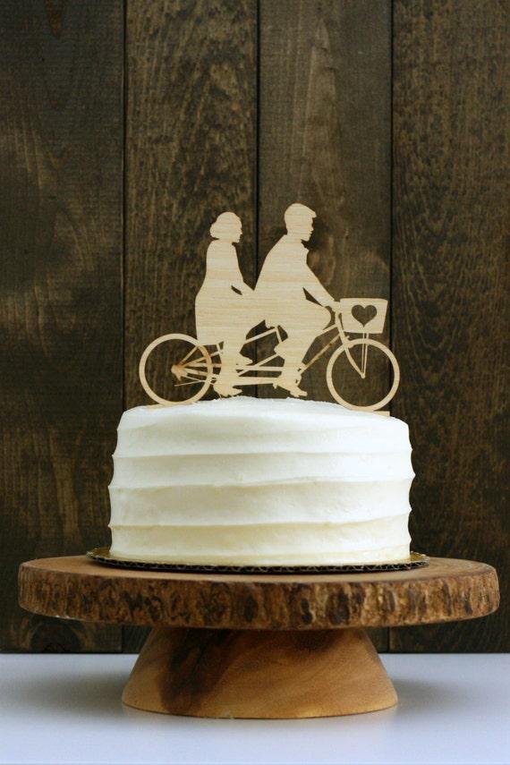 Your Silhouettes On A Custom Tandem Bike Wedding Cake
