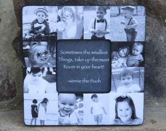 Family Photo Collage Picture Frame, Unique Baby's First Year Photo Frame, Personalized Mother's Day Picture Frame, Grandparent Gift