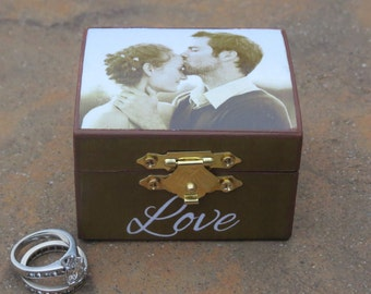 Ring Bearer Box, Custom Photo Engagement Ring Keepsake Box, Unique Marriage Proposal Box, LOVE, Personalized Valentine's Day Photo Gift
