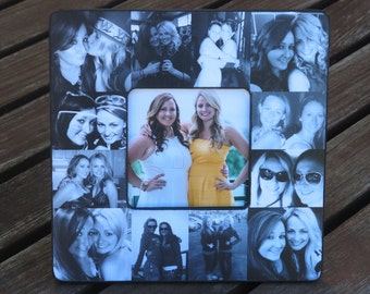 """Maid of Honor Collage Frame, Personalized Sister Gift, Bridesmaid Picture Frame, Best Friends Gift, Custom Birthday Photo Frame, 8"""" x 8"""""""