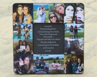 """Maid of Honor Collage Picture Frame, Personalized Sister Gift, Custom Collage Bridesmaid Frame, Best Friends Collage, Birthday Gift, 8"""" x 8"""""""