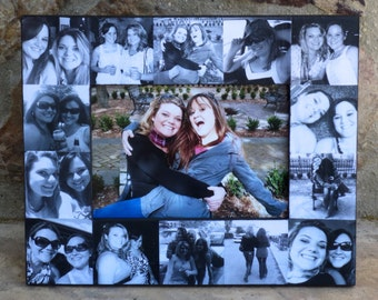 """Best Friends Photo Collage Frame, Personalized Sister Gift, Unique Maid of Honor Picture Frame, Custom Bridesmaid Frame, Birthday, 5"""" x 7"""""""