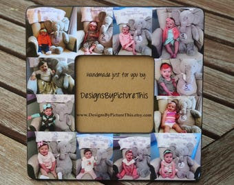 """Personalized Baby's First Year Frame, Baby Collage Picture Frame, Unique Custom Family Photo Frame, Unique Father's Day Gift, 8"""" x 8"""" Frame"""