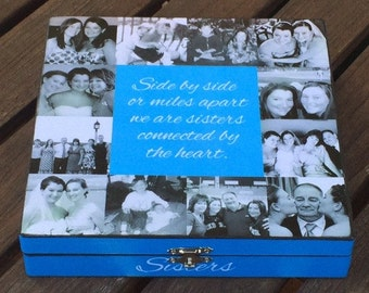 Custom Photo Collage Keepsake Box, Unique Maid of Honor Gift, Sister Gift, Personalized Keepsake Box, Unique Best Friend Birthday Gift