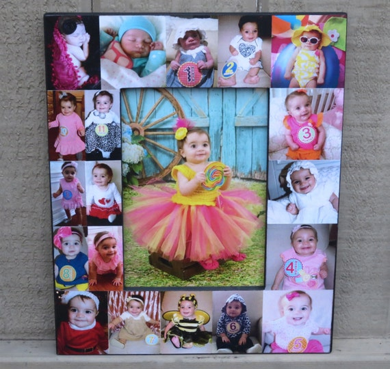 Baby Photo Collage Frame Babys First Year Frame Etsy