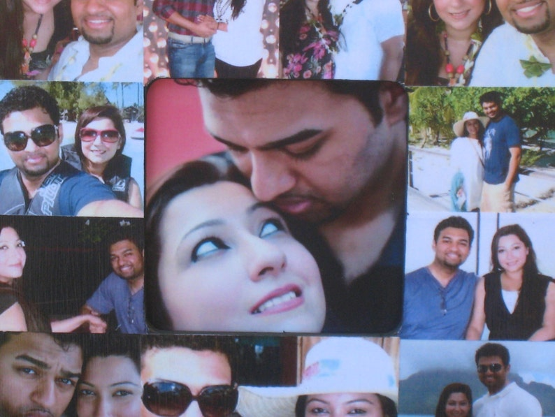 Engagement Collage Picture Frame Boyfriend Gift Unique Personalized Anniversary Gift Custom Collage Wedding Photo Frame 8 x 8