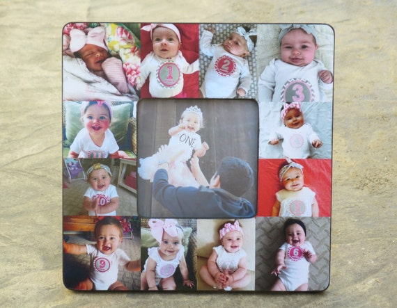 Father/'s Day Unique Baby Gift First Year Collage Picture Frame Mother/'s Day Gift Baby/'s First Year Custom Baby Frame Photo Collage