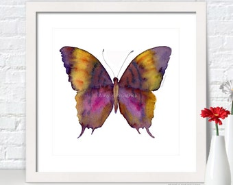 Violet BUTTERFLY Painting, Butterfly Art, Butterfly Print, Watercolor Butterfly, Butterfly Greeting Cards, 99 Marcella Daggerwing