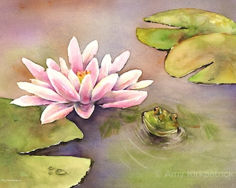 Frog Waterlily Painting, Waterlily ORIGINAL Watercolor Painting, Waterlily PRINT, Lotus Pond Greeting CARDS, Waterlily Art, By the Waterlily