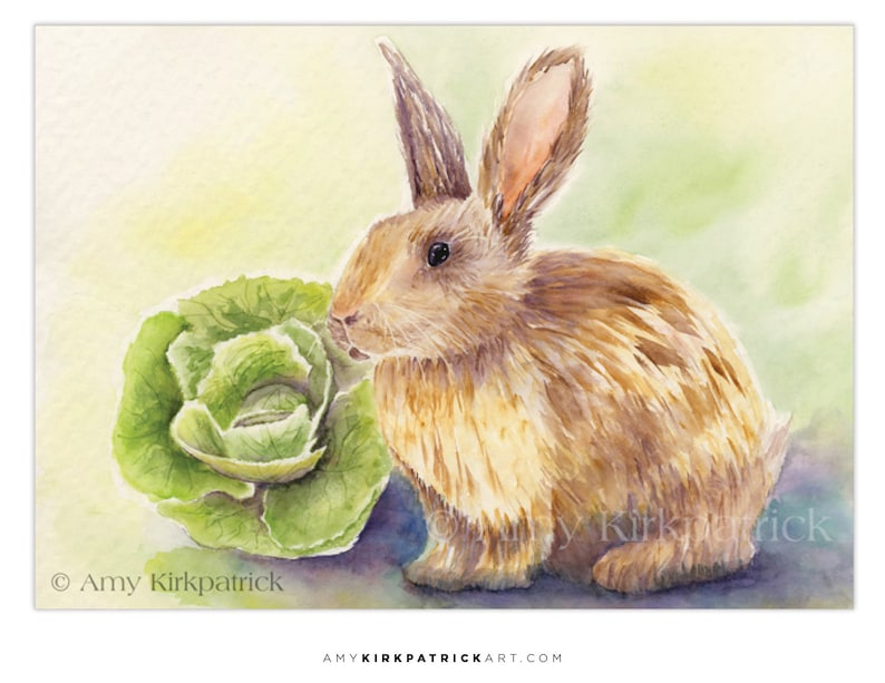 BUNNY ACEO Print Rabbit Watercolor Painting Collectible image 0