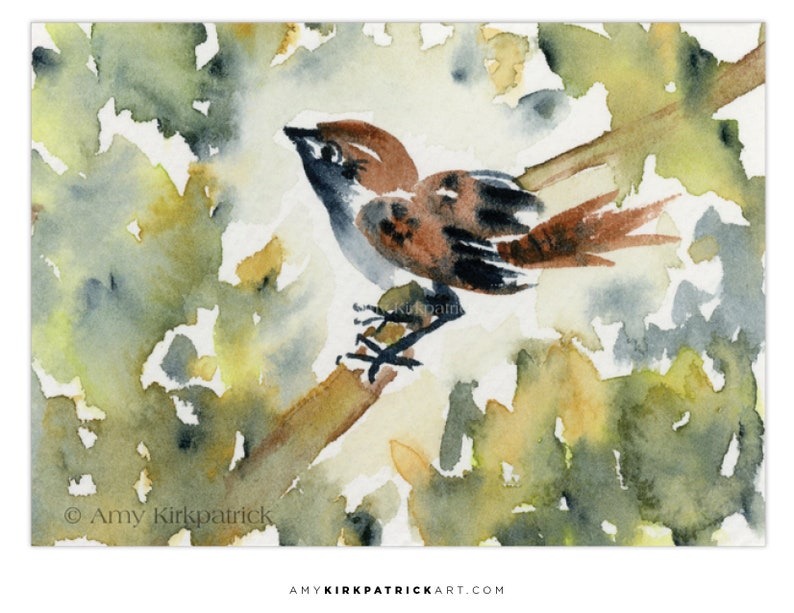 SITTING SPARROW ACEO Print of Bird Watercolor Painting image 0