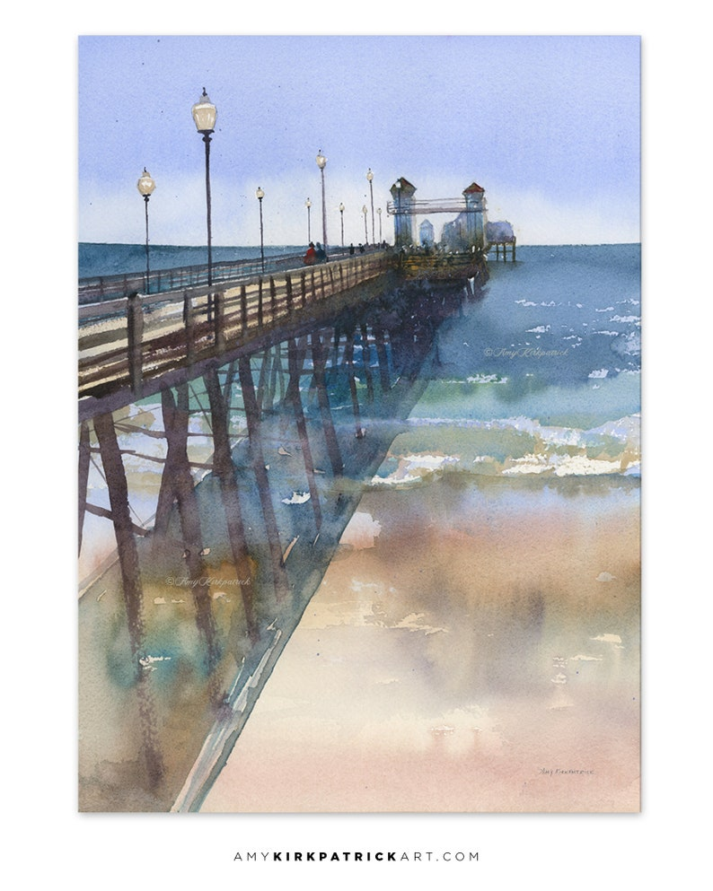 OCEANSIDE PIER 14.5x10.5 Original Watercolor Painting by Amy image 0