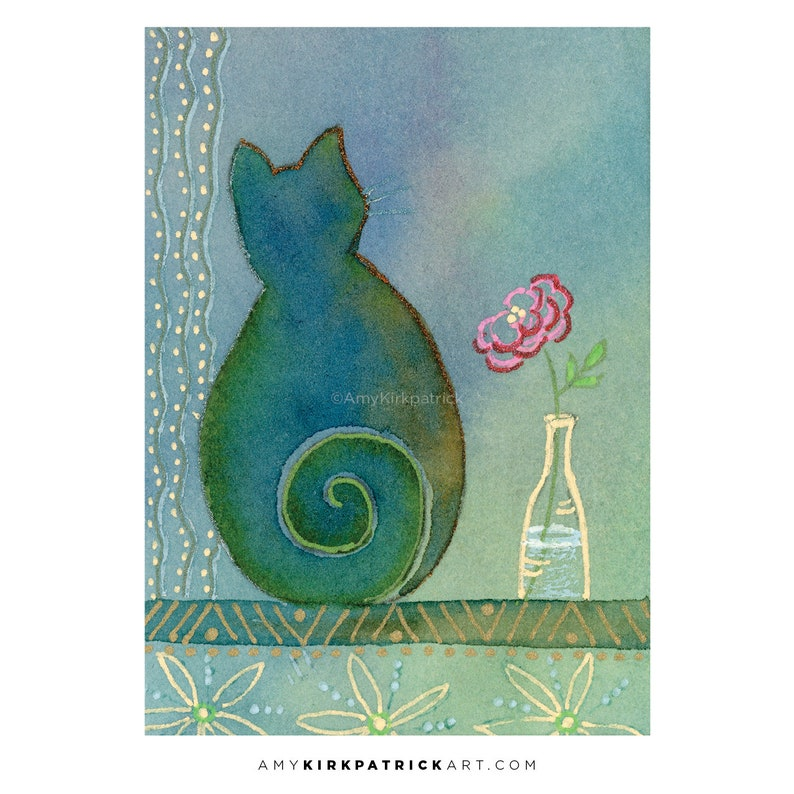 BLUE CAT ACEO Print of Watercolor Painting Collectible image 0