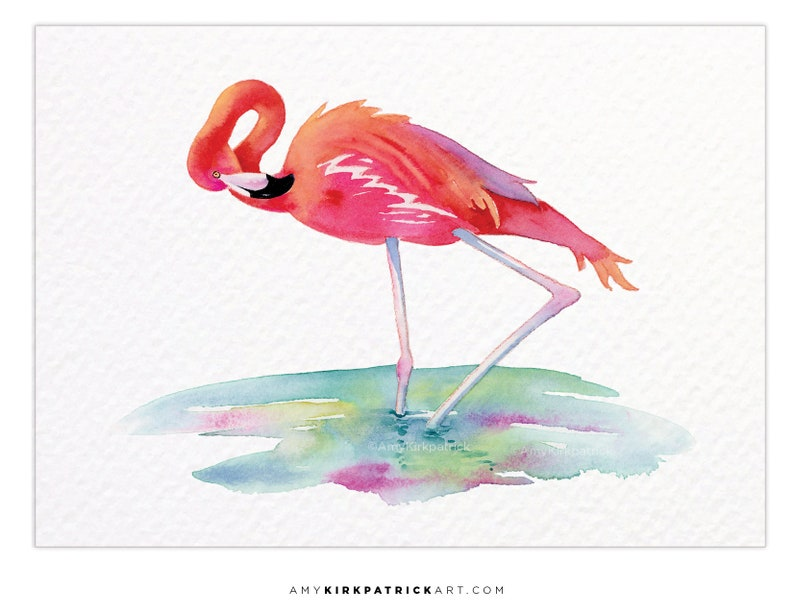 FLAMINGO VIEW ACEO Print of Tropical Bird Watercolor Painting image 0