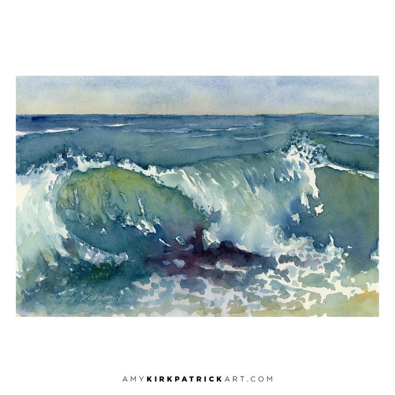 SHORE BREAK Watercolor Painting  Signed Art Prints Greeting image 0