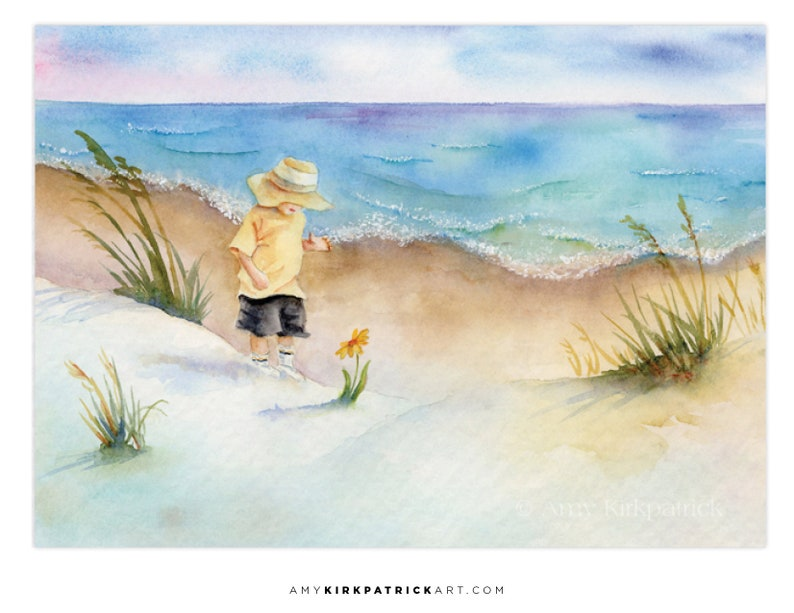 BEACH EXPLORER ACEO Print of Watercolor Painting Collectible image 0
