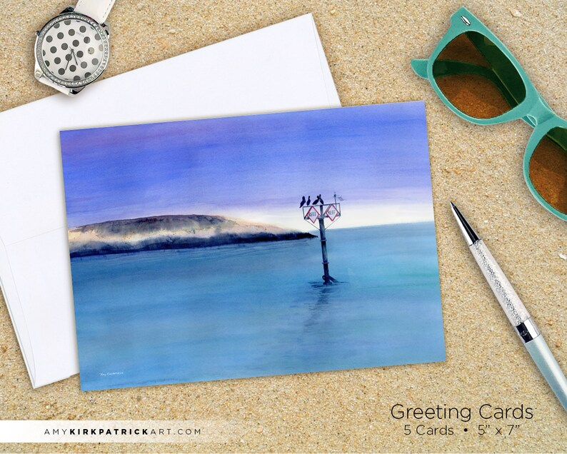 SUNRISE WATCHERS Greeting Cards Ocean Beach Watercolor image 0